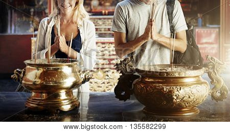Belief Conviction Couple Incense Religion Faith Concept
