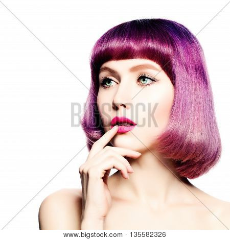 Fashiom Model with Coloring Hair Thinking. Woman with Purple Bob Haircut
