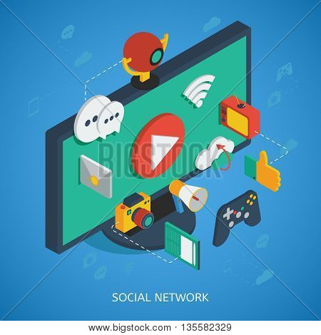 Social network isometric composition with 3d media icons near monitor on blue background vector illustration