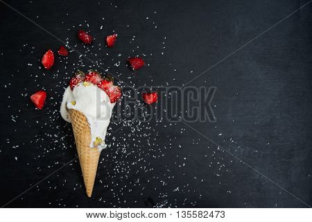 ice cream with strawberry and pistachio nuts coconut sprinkles