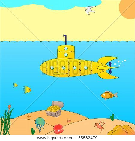 Vector illustration of a submarine at sea. Cartoon submarine under the water.