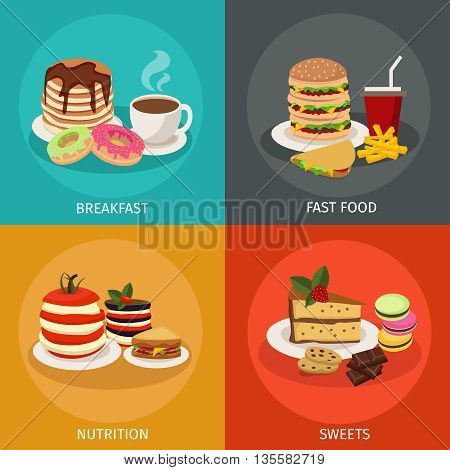 Four square meal tower icon set with descriptions of breakfast fast food nutrition and sweets vector illustration