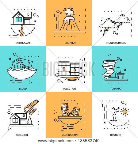 Disaster damage concept with descriptions of tornado meteorite destruction flood pollution vector illustration