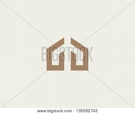 Abstract house hands logo design template. Premium real estate sign. Universal protection care home realty business vector icon