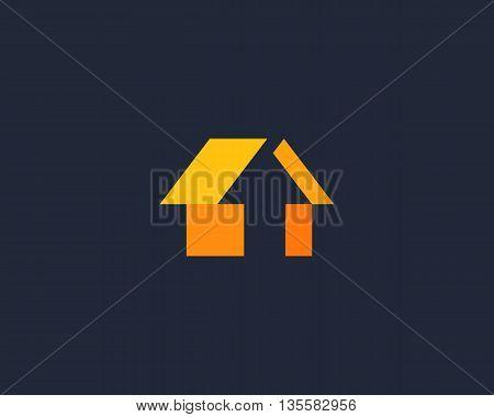Abstract arrow house logo design template. Universal color click home vector icon.