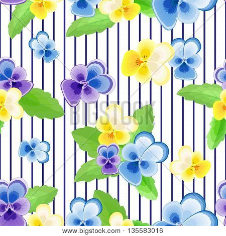Cute floral vector illustration.Summer seamless pattern with delicate yellow-white flowers on a darkt blue background.Can be used for fabric, textile, wrapping paper.