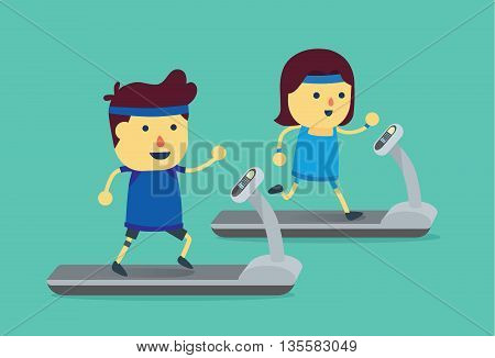 Man and woman workout with running on treadmill. This illustration about exercise.