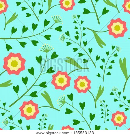 Seamless pattern with flowers and green grass on a gentle blue background.Leaves heart-shaped.Bright summer patterns.Vector illustration for fabric, textile, scrapbooking, wrapping paper.