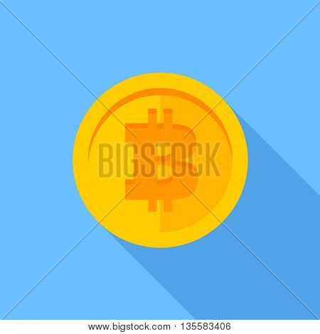 Flat icon Bitcoin. Gold coin with long shadow on blue background. Digital currency. Modern flat design icon bitcoin. Virtual money vector illustration