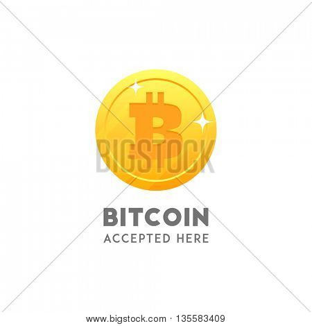 Bitcoin accepted here. Vector coin flat design