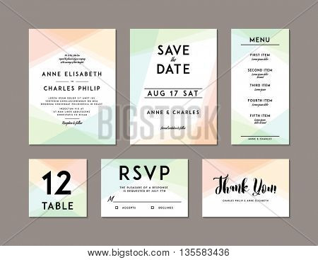 Modern Wedding Set template. Modern design. Wedding Invitation, Save the Date, Menu, Table card, RSVP, and Thank You card design with modern abstract background. Tradition decoration for wedding