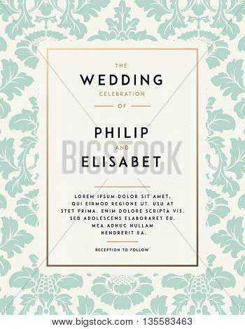 Vintage Wedding Invitation template. Modern design. Wedding Invitation design with damask background. Tradition decoration for wedding. Vector illustration