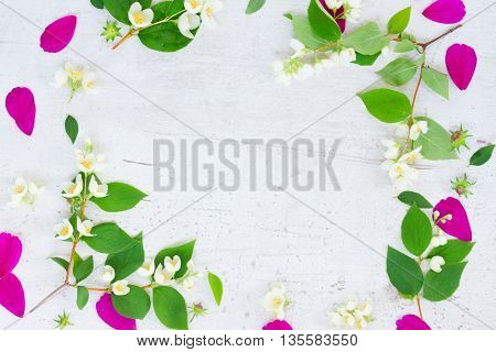 Cosmos and jasmine fresh flowers and leaves festive frame composition on white table with copy space
