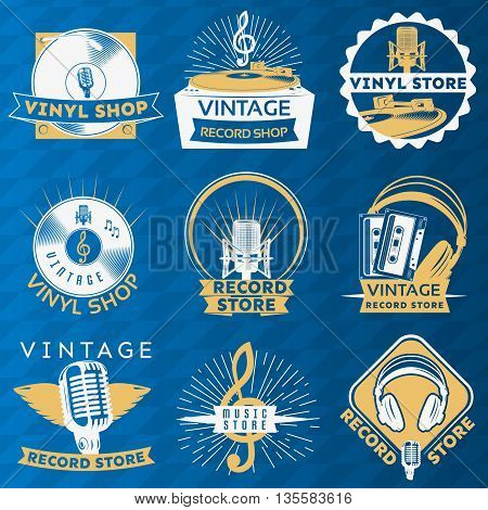 Vinyl vintage label set with descriptions of vinyl shop vintage record shop record store vector illustration