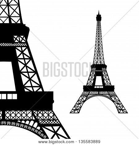 Eiffel tower in Paris. Vector illustration on white