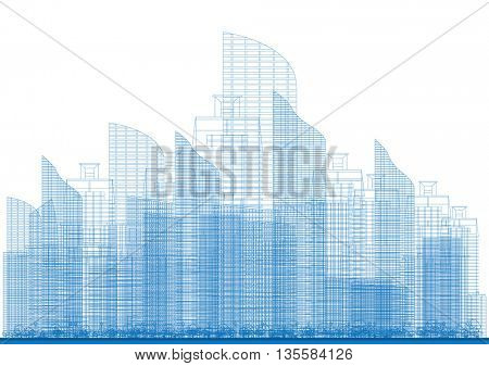 Outline City Skyscrapers in Blue Color. Vector Illustration. Business and Tourism Concept for Presentation, Placard, Banner or Web Site.