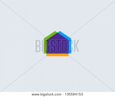 Abstract house logo design template. Colorful real estate modern symbol. Universal realty vector icon.