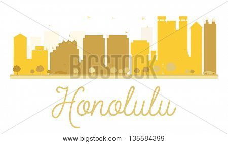 Honolulu City skyline golden silhouette. Vector illustration. Simple flat concept for tourism presentation, banner, placard or web site. Business travel concept.