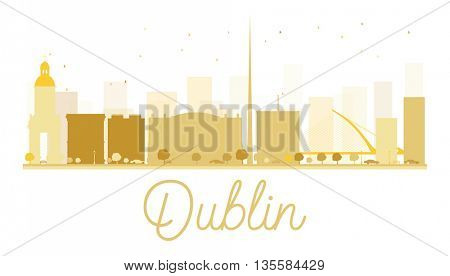 Dublin City skyline golden silhouette. Vector illustration. Simple flat concept for tourism presentation, banner, placard or web site. Business travel concept. Dublin isolated on white background