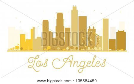 Los Angeles City skyline golden silhouette. Vector illustration. Simple flat concept for tourism presentation, banner, placard or web site. Los Angeles isolated on white background
