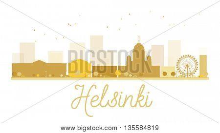 Helsinki City skyline golden silhouette. Vector illustration. Simple flat concept for tourism presentation, banner, placard or web site. Business travel concept.
