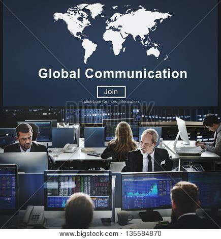 Global Communication Worldwide Website Homepage Concept