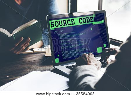 Source Code Analysis Binary Computer Internet Concept