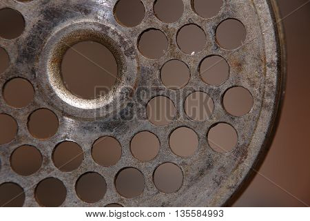Perforated Disk Used As Part Of An Old Meat Grinder