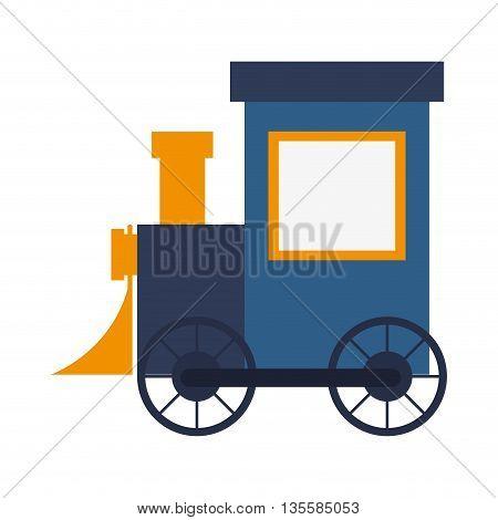 flat design blue toy train vector illustration