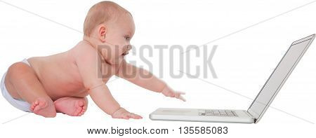 Panoramic shot of cute baby boy using laptop computer Full length of toddler is sitting with wireless technology He is isolated over white background