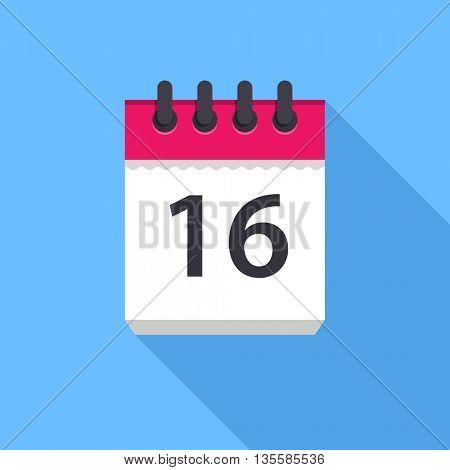 Calendar icon. Flat Design vector icon. Calendar on blue background. 16 day