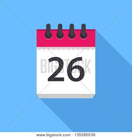 Calendar icon. Flat Design vector icon. Calendar on blue background. 26 day
