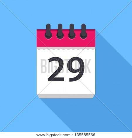 Calendar icon. Flat Design vector icon. Calendar on blue background. 29 day