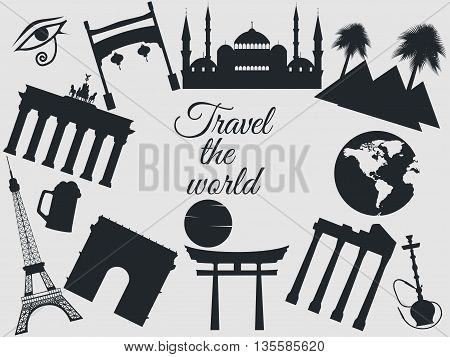 Travel the world world landmarks travel and tourism background. Around the world. On white background.