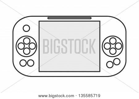 black line mobile digital gaming device with big screen in the middle and buttons to its sides vector illustration