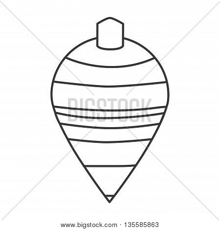 black line striped spinning top toy vector illustration