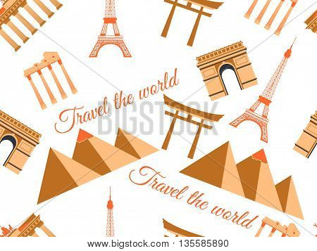 Landmarks Seamless Pattern Seamless Pattern Wonders, Architecture Seamless Pattern. Travel The World
