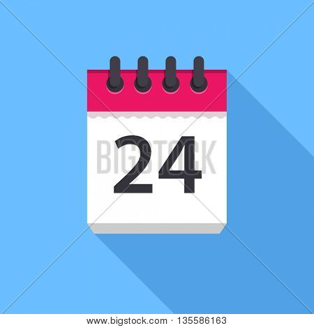 Calendar icon. Flat Design vector icon. Calendar on blue background. 24 day