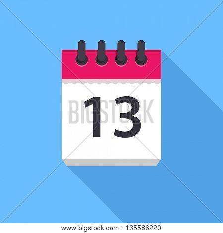 Calendar icon. Flat Design vector icon. Calendar on blue background. 13 day