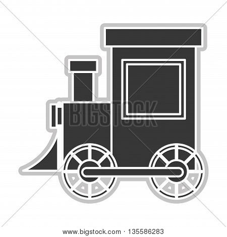 flat design white and grey toy train vector illustration