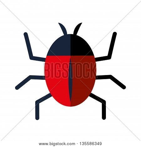 Insect represented by bug icon over isolated and flat background