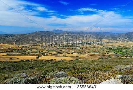 rhodes greece view of the valley from height on sunny summer day