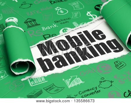 Money concept: black text Mobile Banking under the curled piece of Green torn paper with  Hand Drawn Finance Icons, 3D rendering
