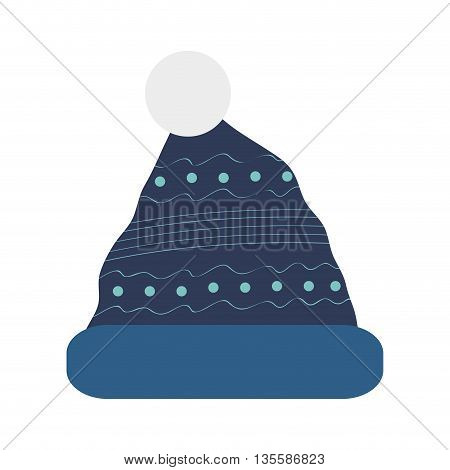 blue winter knit hat with pom pom on top icon vector illustration