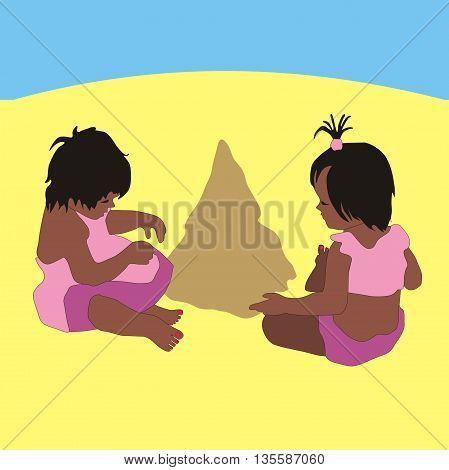 Illustration little girl twins playing in the sand beach