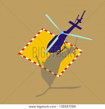 Illustration of a small helicopter is landing on specially marked area heliport