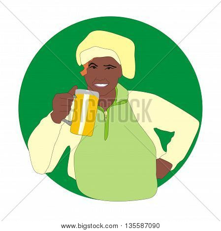 Illustration fun happy brewer with a mug of beer in his hand