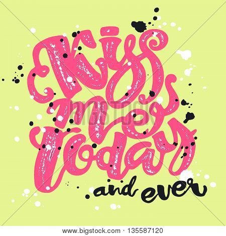 Kisses Day Lettering Inspiration Poster.