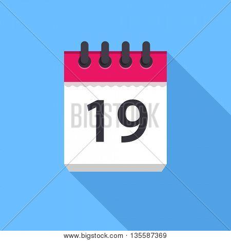 Calendar icon. Flat Design vector icon. Calendar on blue background. 19 day