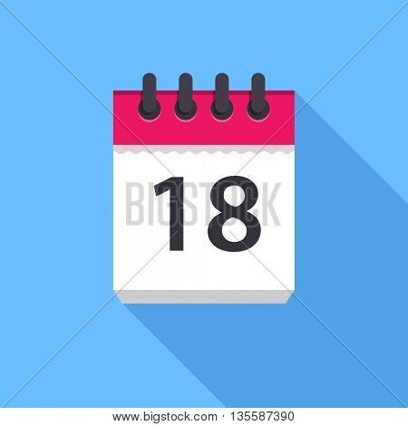 Calendar icon. Flat Design vector icon. Calendar on blue background. 18 day
